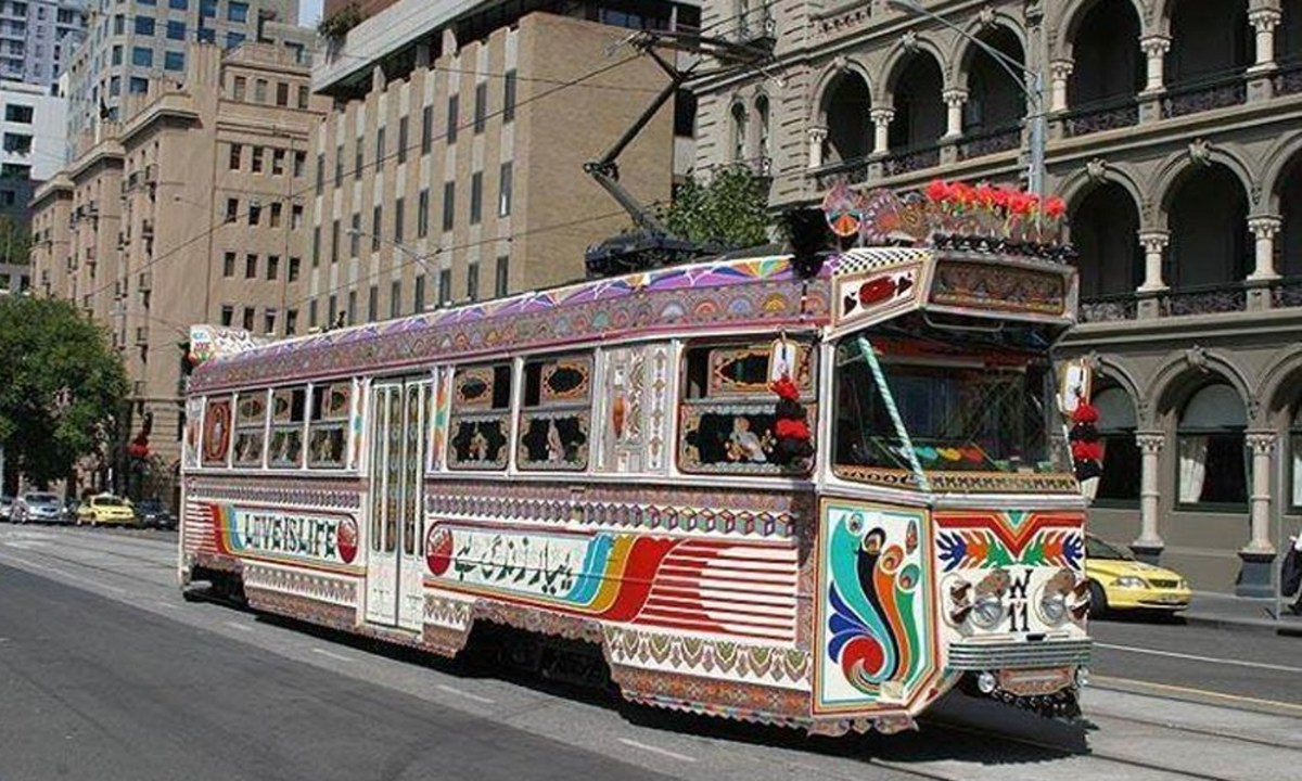 Decorated local tram, a successful achievement of Pakistani truck art hits the streets of Melbourne, Australia.