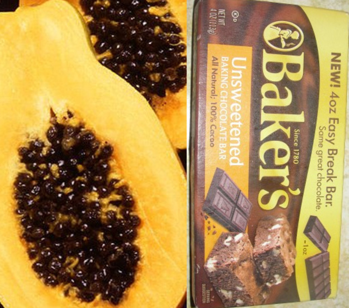 Some of the foods from tropical rainforests: papaya and chocolate