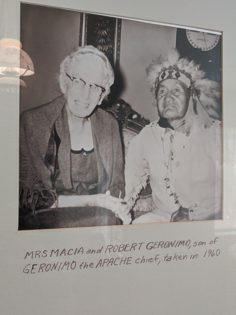 The Macia family was active in the community and interested in its history including that of the Apaches who controlled the area before Ed Schieffelin's 1877 discovery of silver and the founding of the city of Tombstone