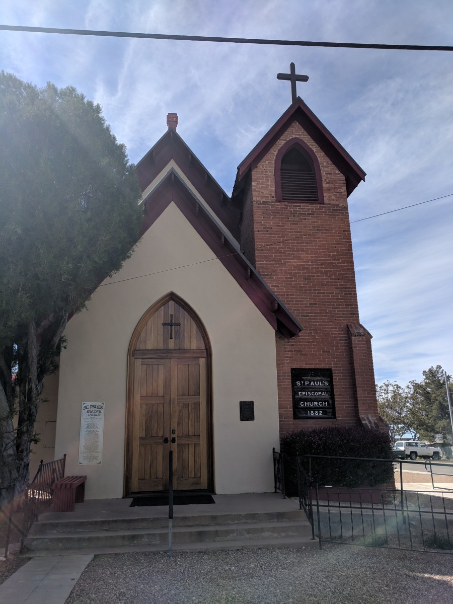 Church built in 1882 - 4 years after Ed Schieffelin filed his mining claim that started the city and 2 years before Henry & Mary Gee arrived in Tombstone.  In 1902 Mary Gee organized & performed in a concert to raise funds for the church