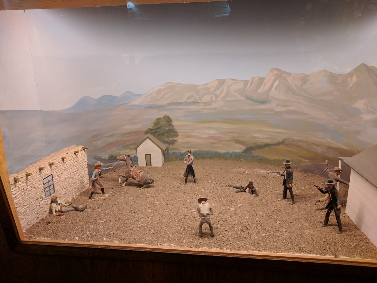 The museum contains a number of diaramas depecting events in Tomstone's history.  This one depicts the famous shoot out at the OK Corral