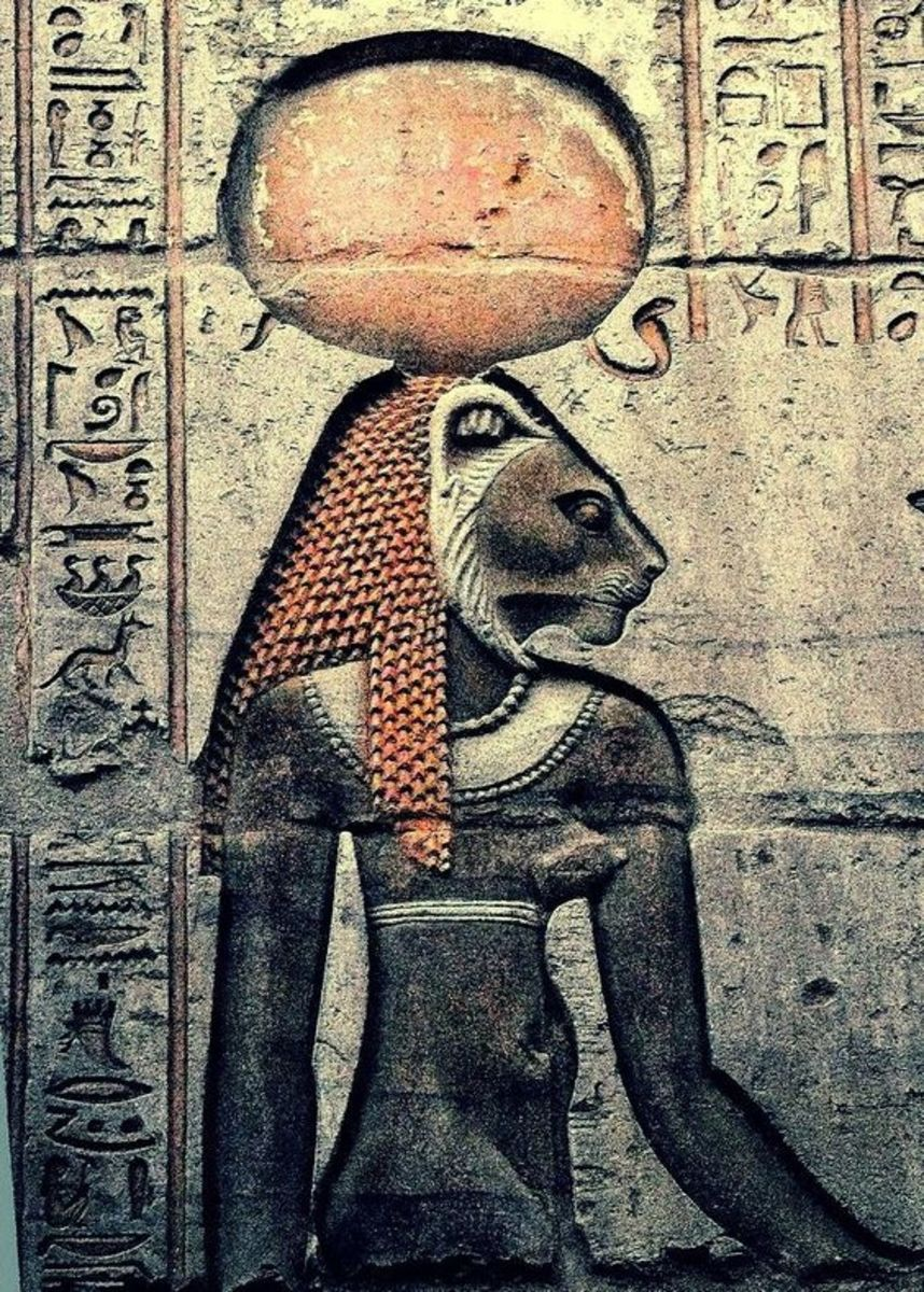 Goddess Sekhmet, from the wall of Kom Ombo, Egypt