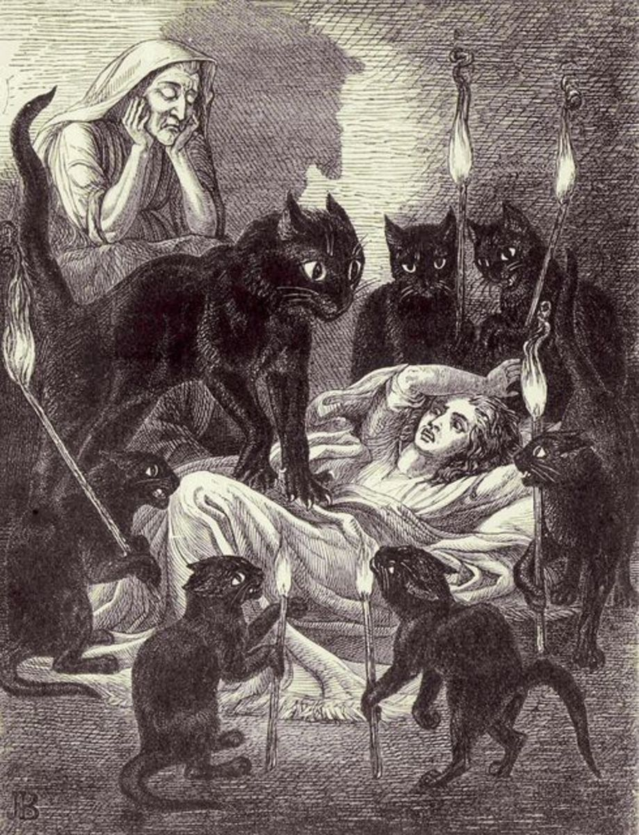 Cats Guarding the Sick Witch - Leonard's Dream from The Lances of Lynwood by Charlotte Mary Yonge, 1855 illustration by Jane Blackburn