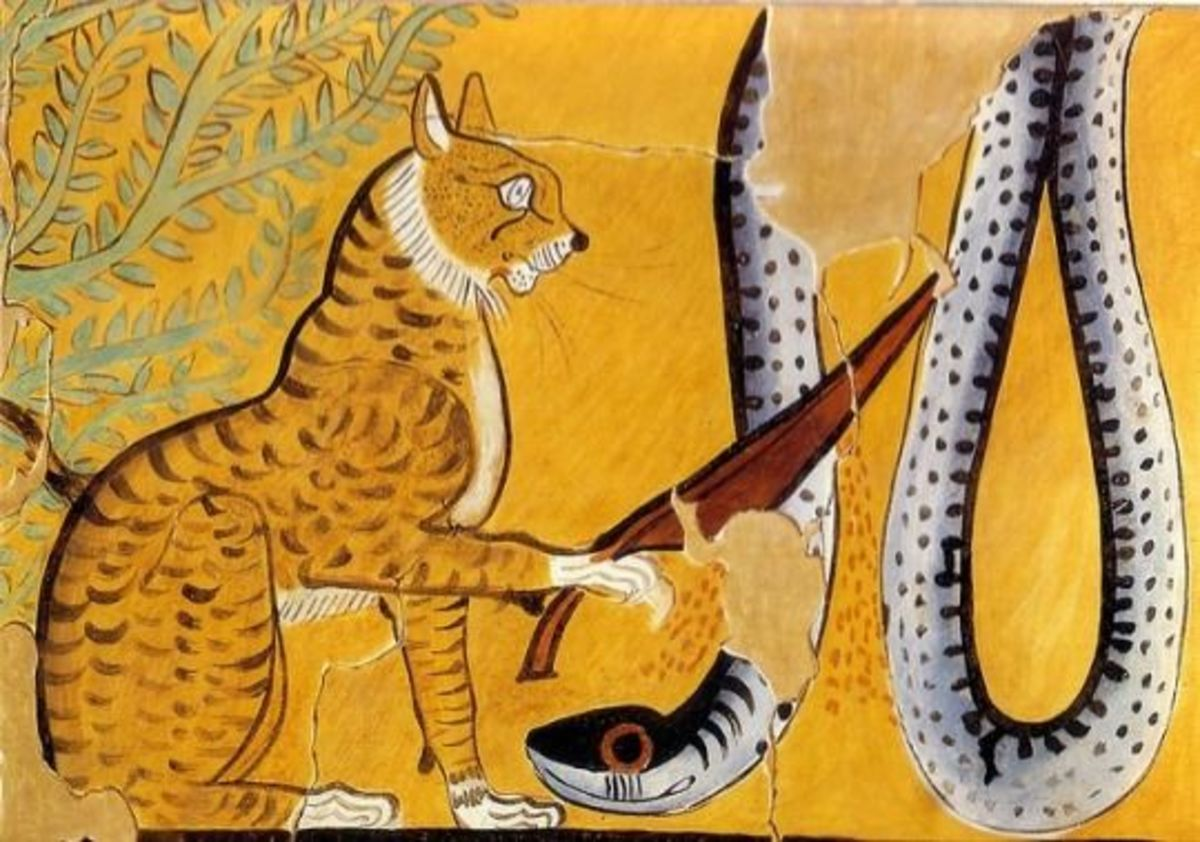 The Great Cat Bastet subdues the serpent Apep by cutting off his head with Her sacred blade.