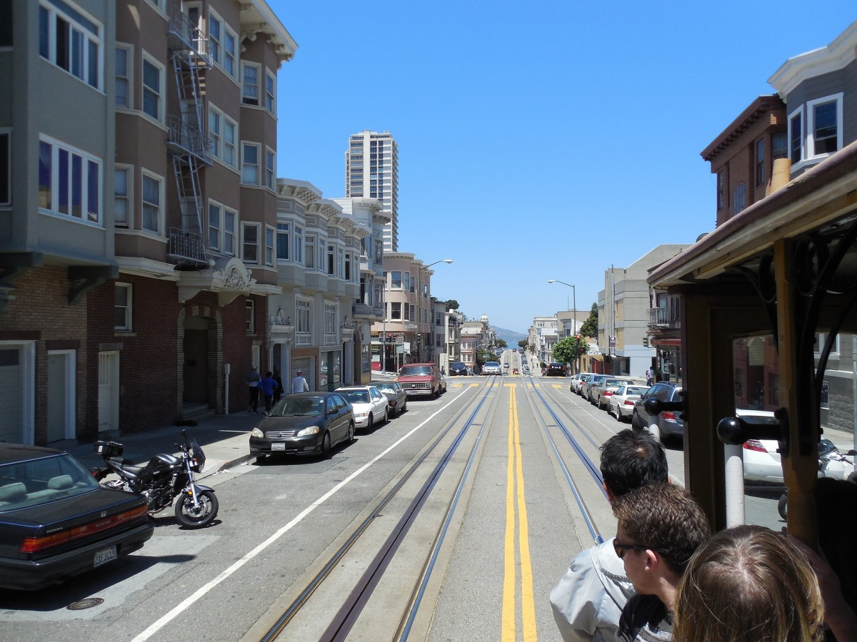 A view of the city of San Francisco with people traveling in a cable car.