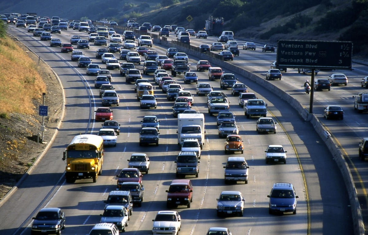 Bumper to bumper traffic and gridlock is what a person will see particularly in Los Angeles.
