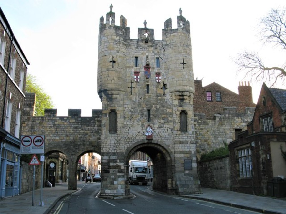 Micklegate Bar, from 'without' - from the Nunnery Lane side (south), modified to suit modern day demands. The Henry VII museum is located within the barbican