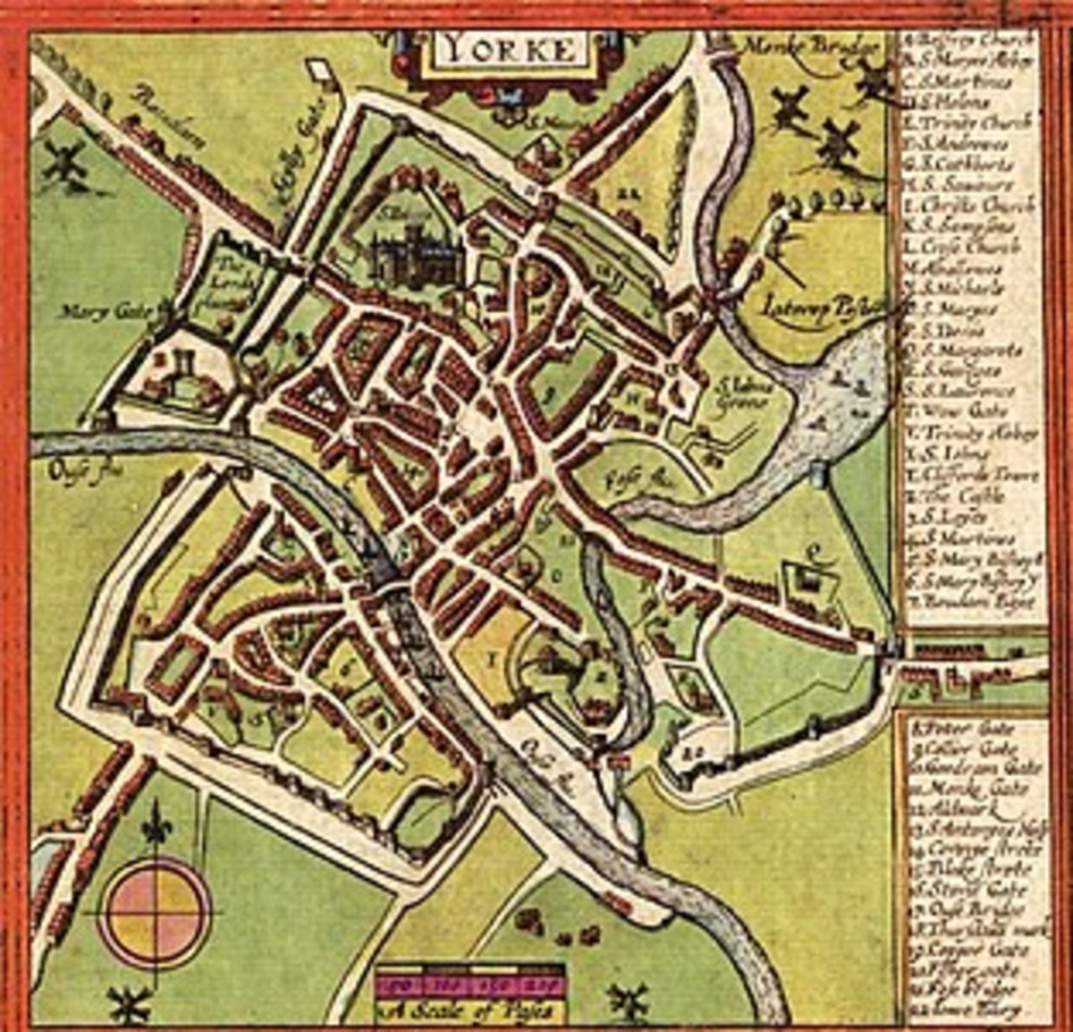 York in the 17th Century - 1611 map drawn up by John Speed