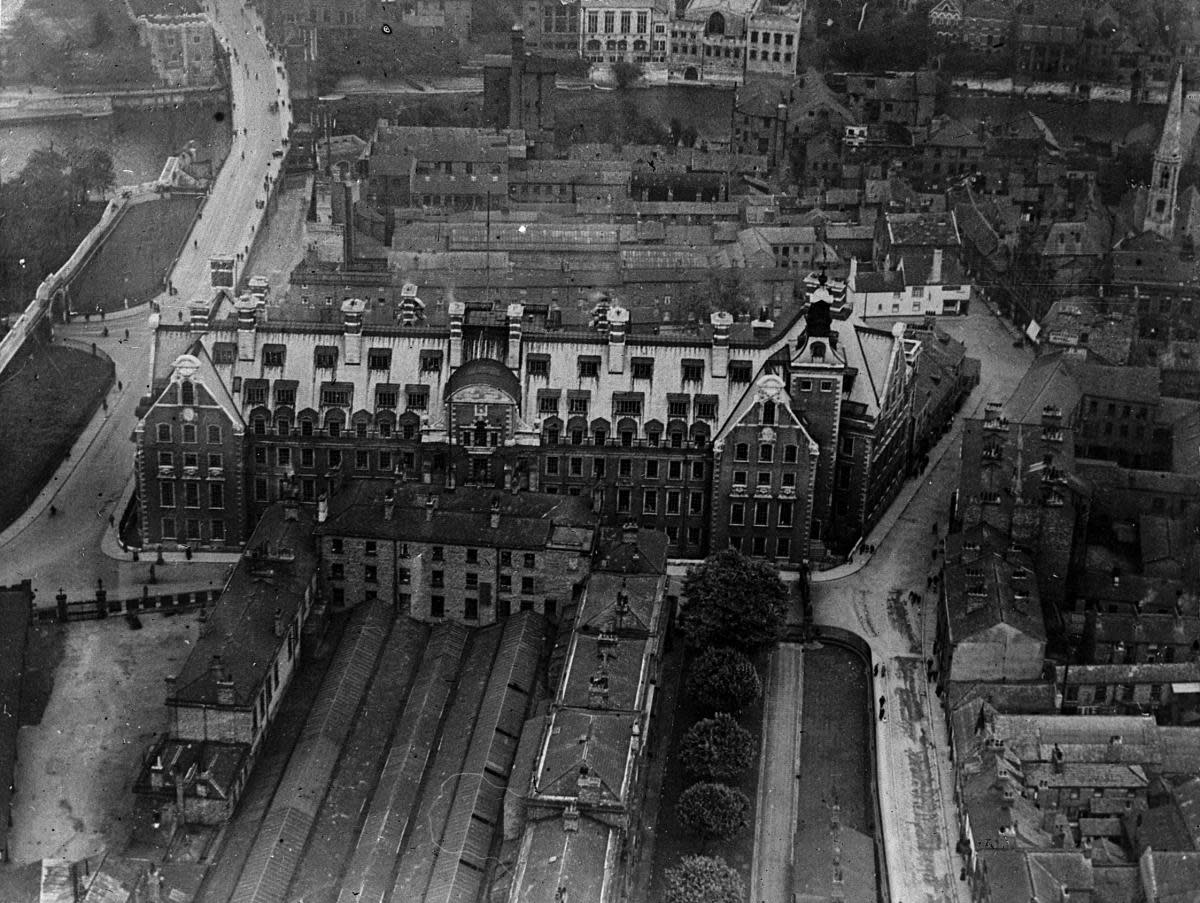 Aerial view of the old station before complete closure and lifting of the rails. This station was used latterly by the car sleeper trains to and from the north of Scotland