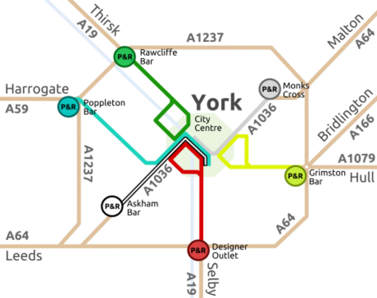 Schematic diagram of York's Park & Ride system based on regional approaches from Selby/Hull (A19/A64); Harrogate/Leeds (A59/A64);, Thirsk/Northallerton (A19); Scarborough/Whitby (A64)