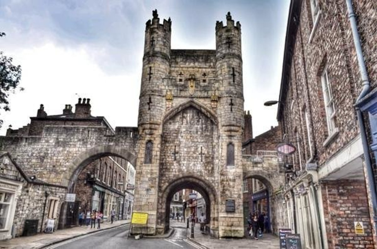 Monk Bar (gate) from 'without', seen from Lord Mayor's Walk-St Maurice's Road. The Richard III Museum...