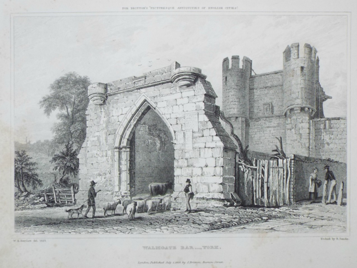 Walmgate Bar pre-restoration (see below for information); note the drover with a small flock of sheep, and one cow visible. York at this time was pretty much a backwater, with funds probably going into the mayoral pockets