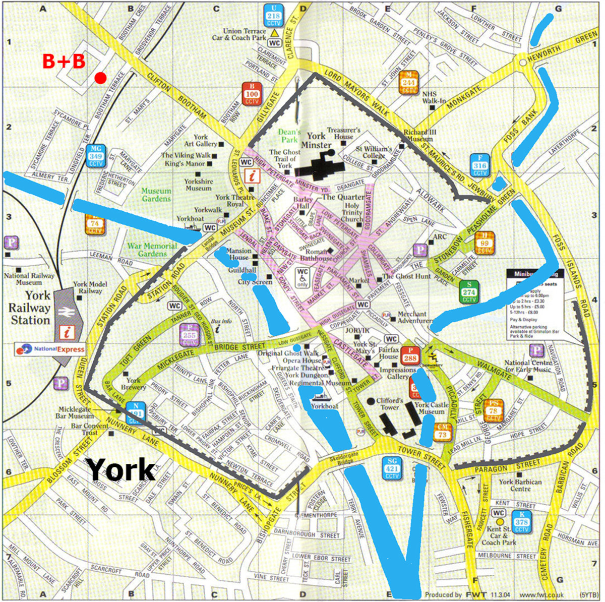 City of York, Yorkshire (where else?) England. Take a tour around the walls to  get your bearings, see a side of the city many have enjoyed. Walking them is not advised around dusk and the stairs are locked at times advertised at each point of access
