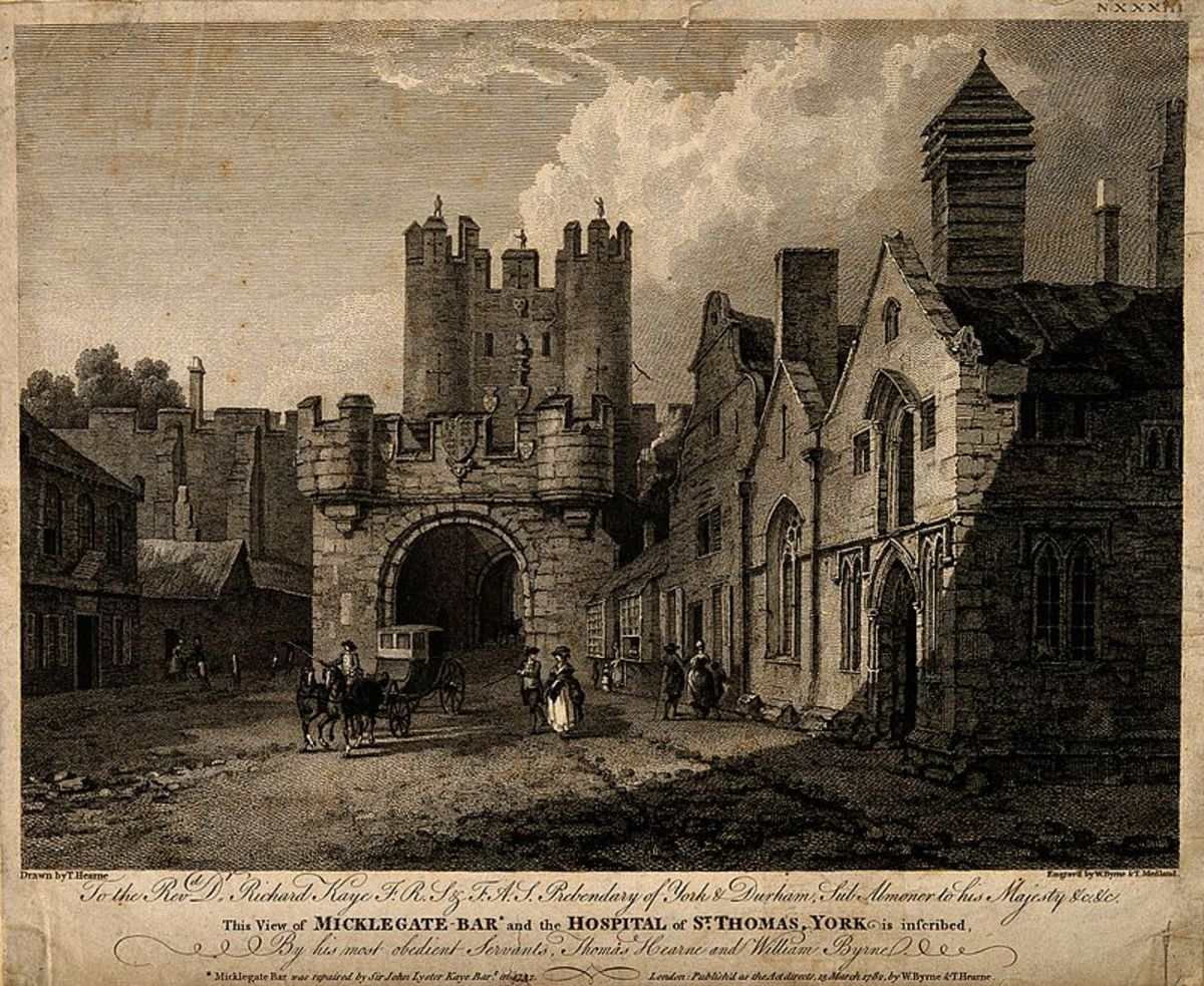 Micklegate Bar with St Thomas' Hospice, on the right, 1782