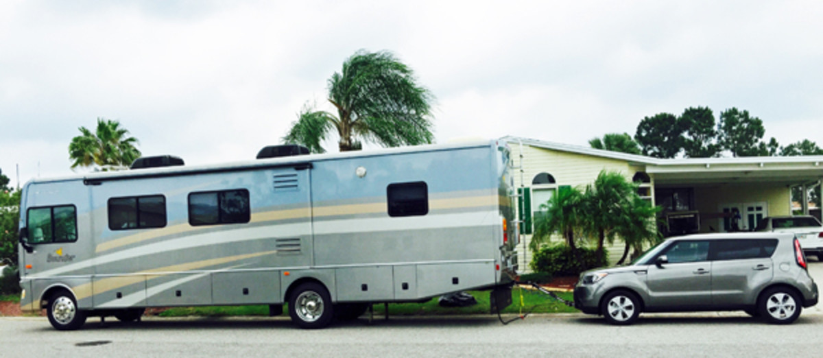 A Fleetwood Bounder RV hooked up and ready to hit the road.