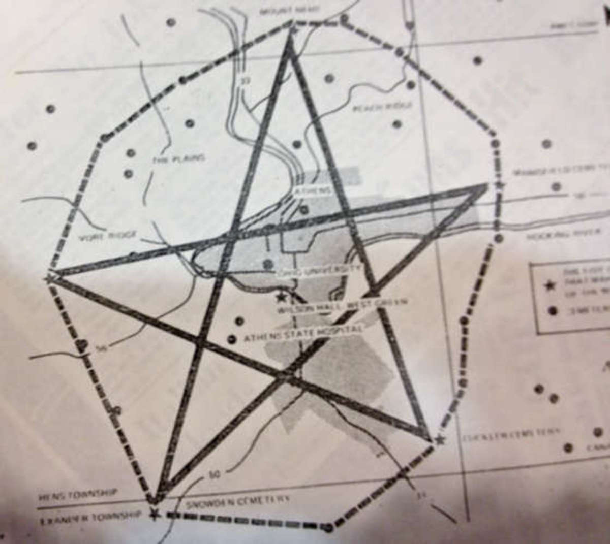 Cemeteries that create a pentagram around the asylum.