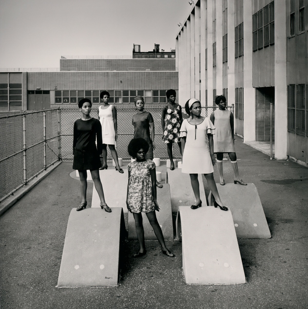 Kwame Brathwaite, Untitled (Photo Shoot at a School for One of the Many Modeling Groups Who Had Begun to Embrace Natural Hairstyles in the 1960s), c. 1966, archival pigment print, the Museum of Fine Arts, Houston. © Kwame Brathwaite