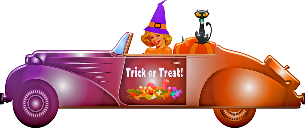 Artist's depiction of a beautiful witch driving a car