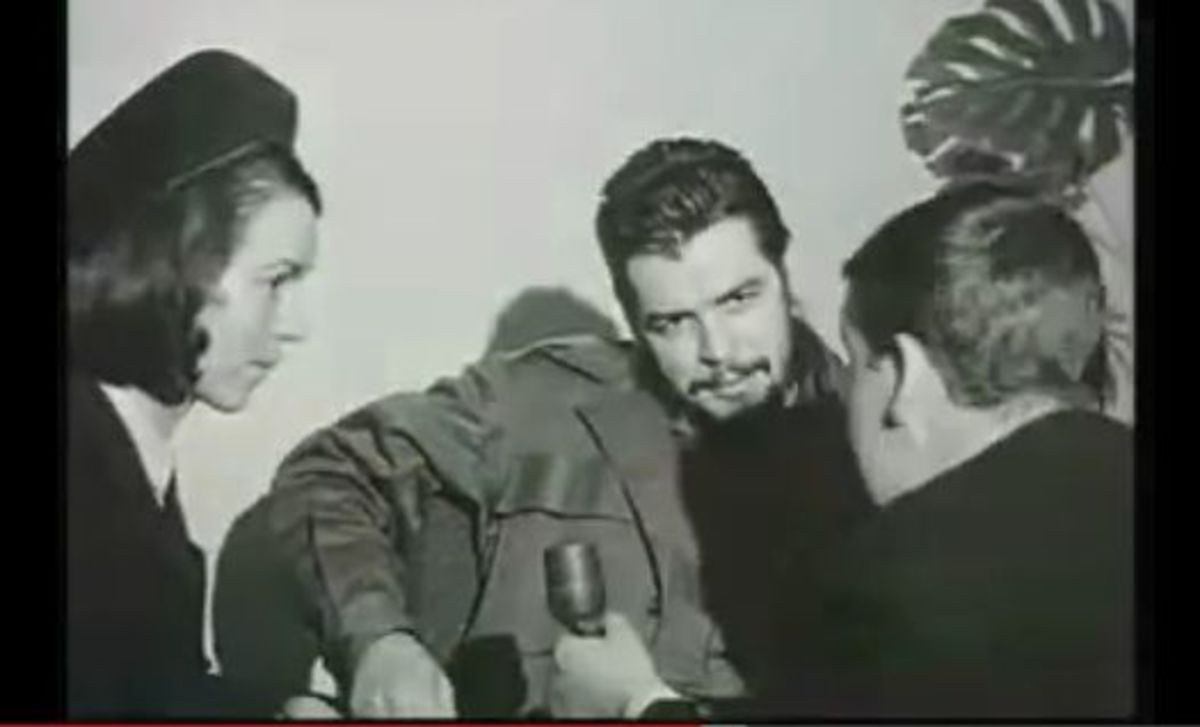 Che Guevara being interviewed after landing at Shannon Airport