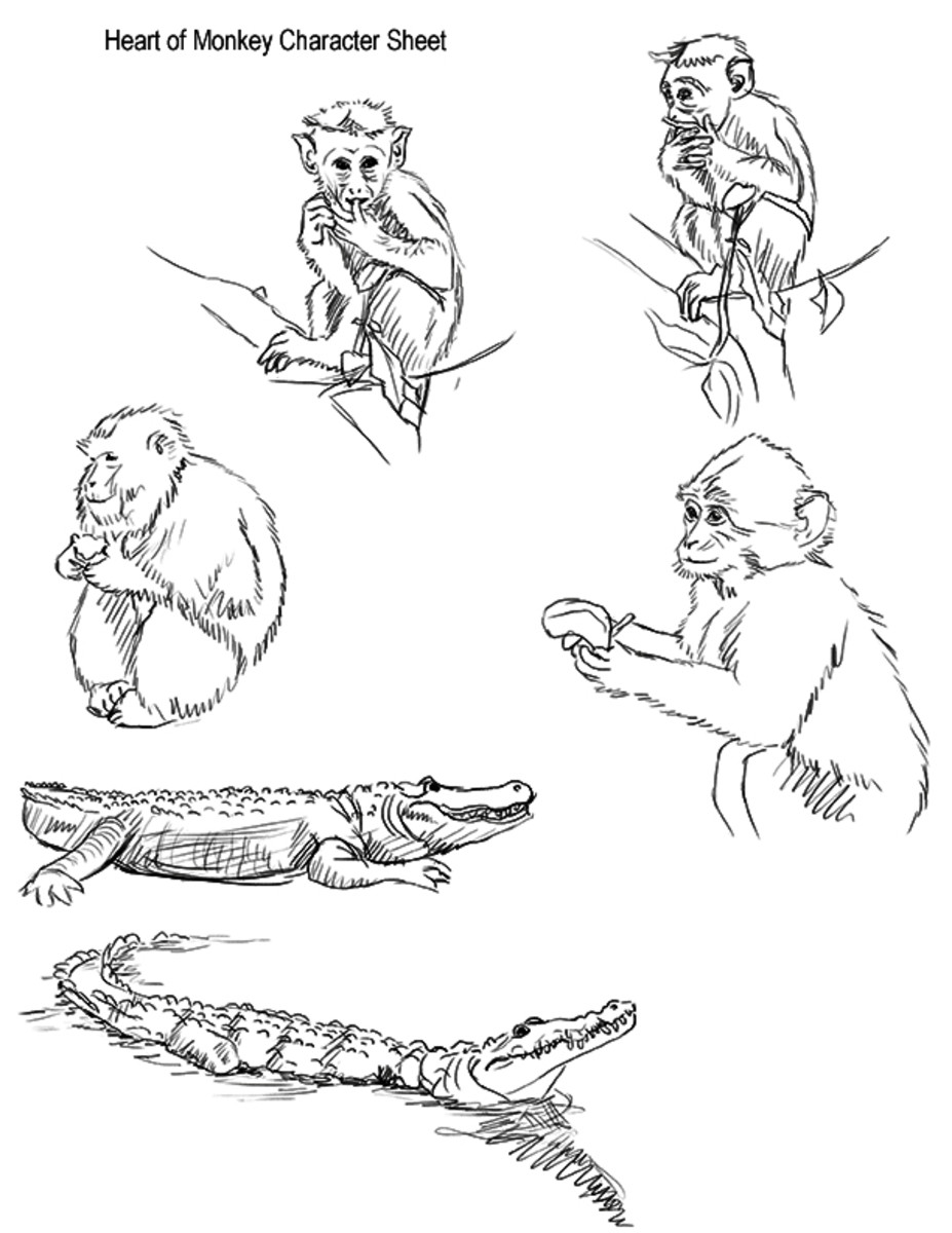A character sheet for the monkey and the alligator in different poses.