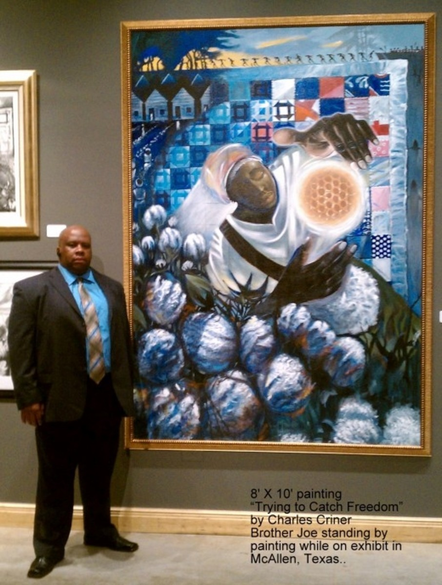 """Showing large size of """"Trying to Catch Freedom"""" painting with artist's brother Joe"""