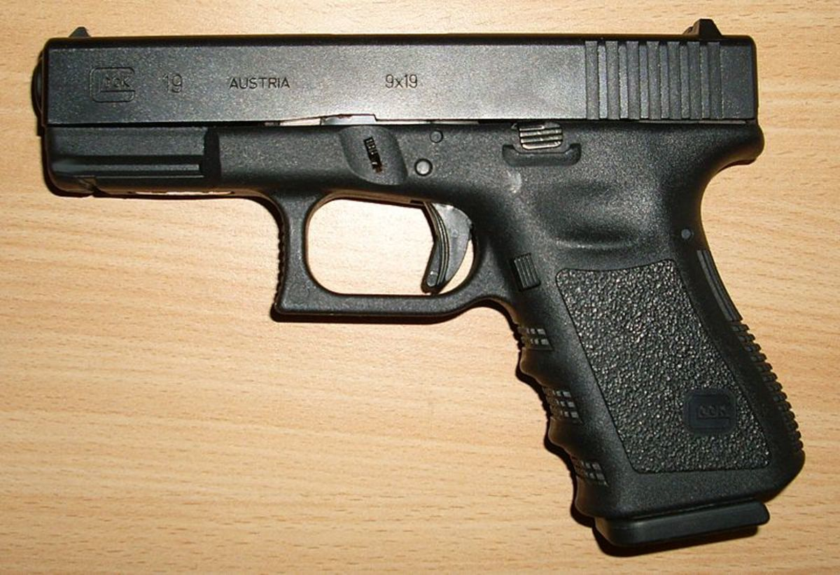 Glock G19.  Used by the FBI, U.S. Secret Service, U.S. Navy Spec. Ops., and British Armed Forces.