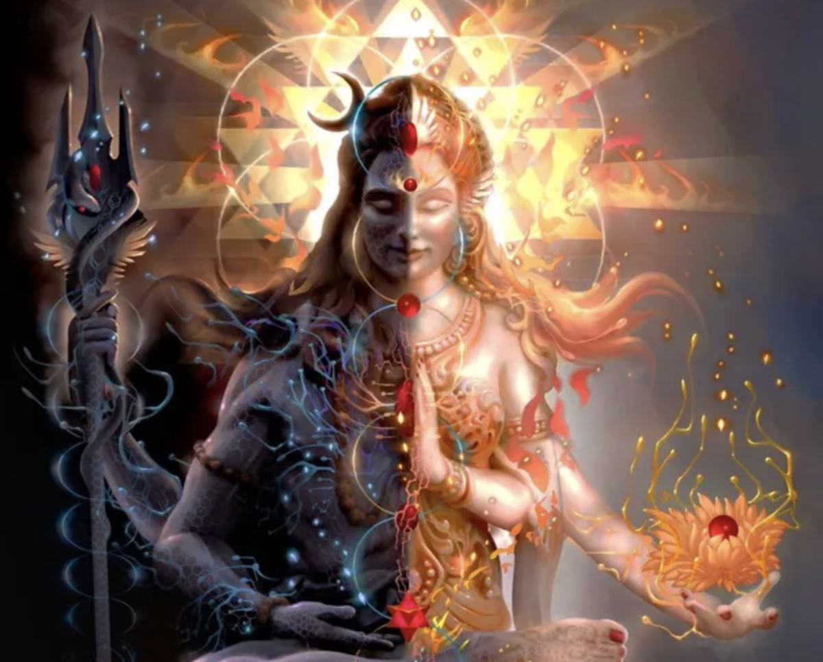 Shiva - Shakti is the symbol of superconsciousness in Hinduism. It is a stage when your Kundalini reaches the seventh chakra - Sahasrara