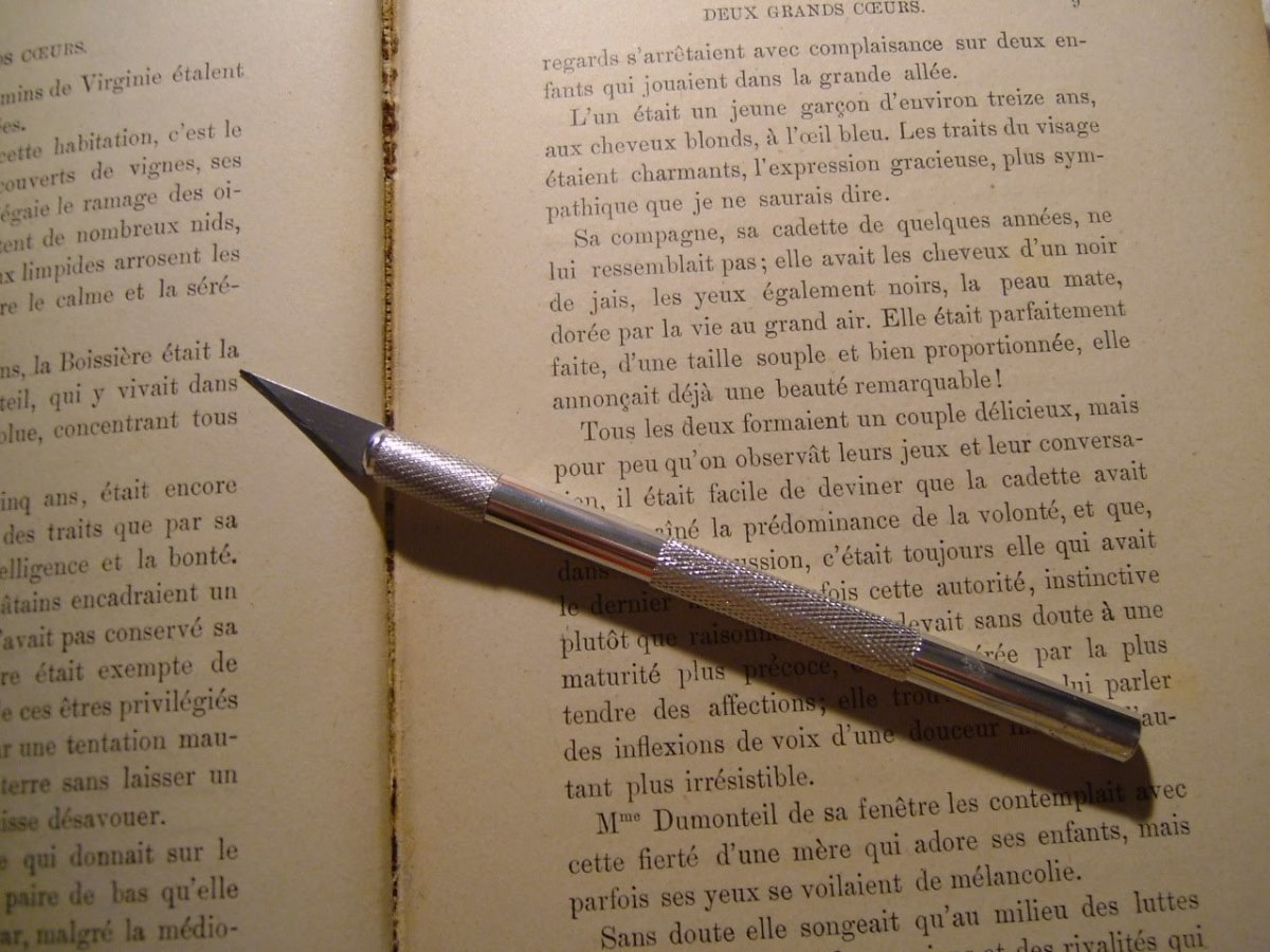 Because you are adding bulk to your pages, it is important to remove pages with a sharp craft knife