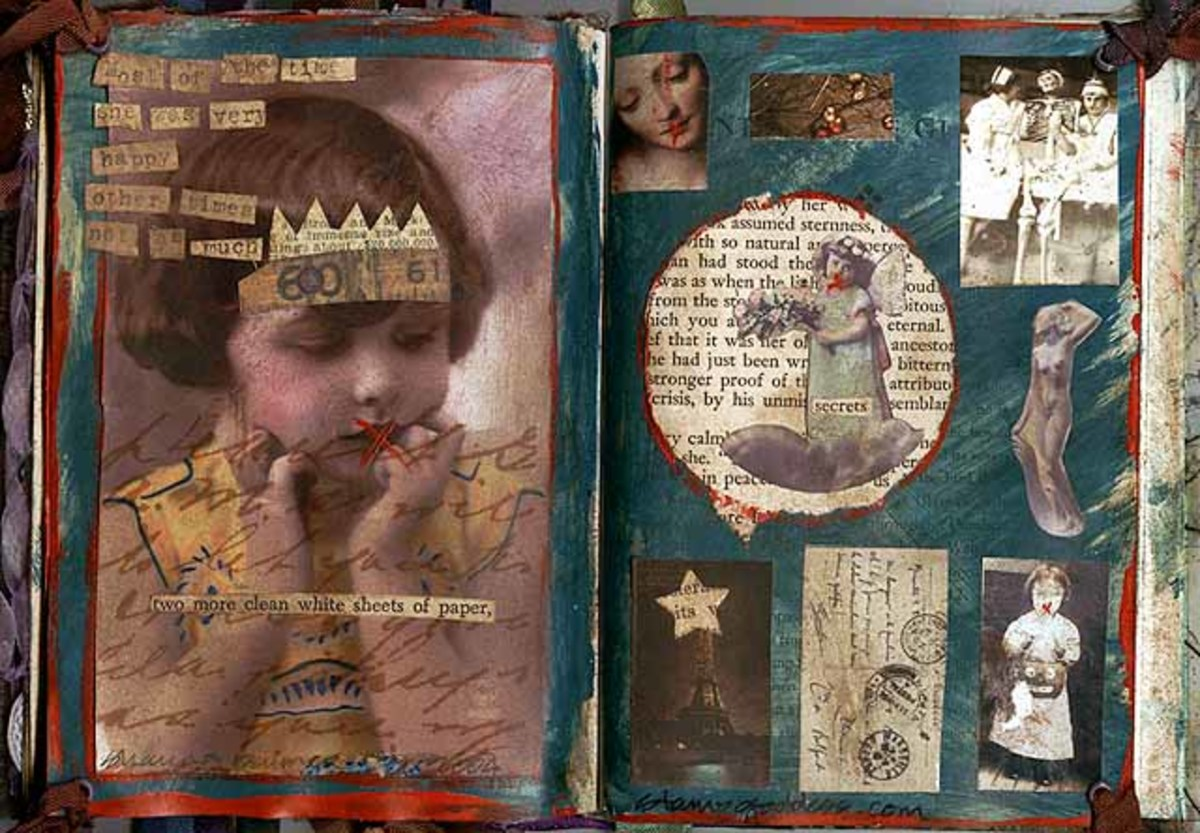This artist shows you how to use magazine images and text in your altered book layouts