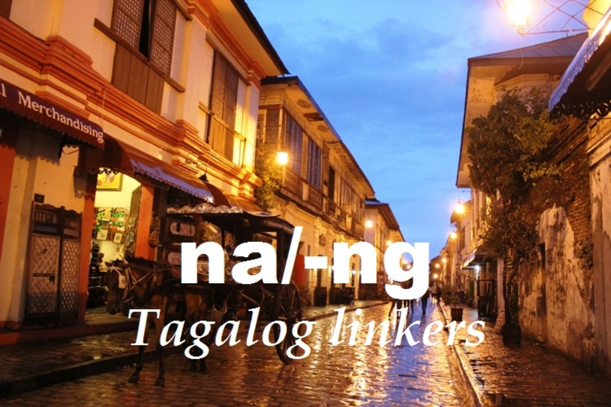 Ways of using na and -ng as Tagalog linkers for adjectives.