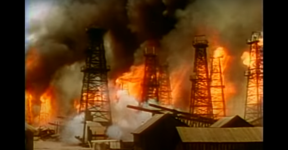 The whole oil field is on fire.