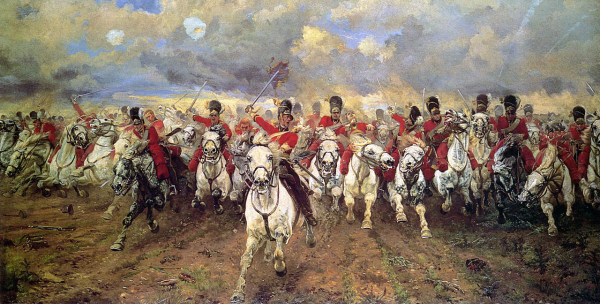 Scotland Forever! by Elizabeth Lady Butler. Lady Butler's depiction of the Scots Greys famous charge at the Battle of Waterloo.