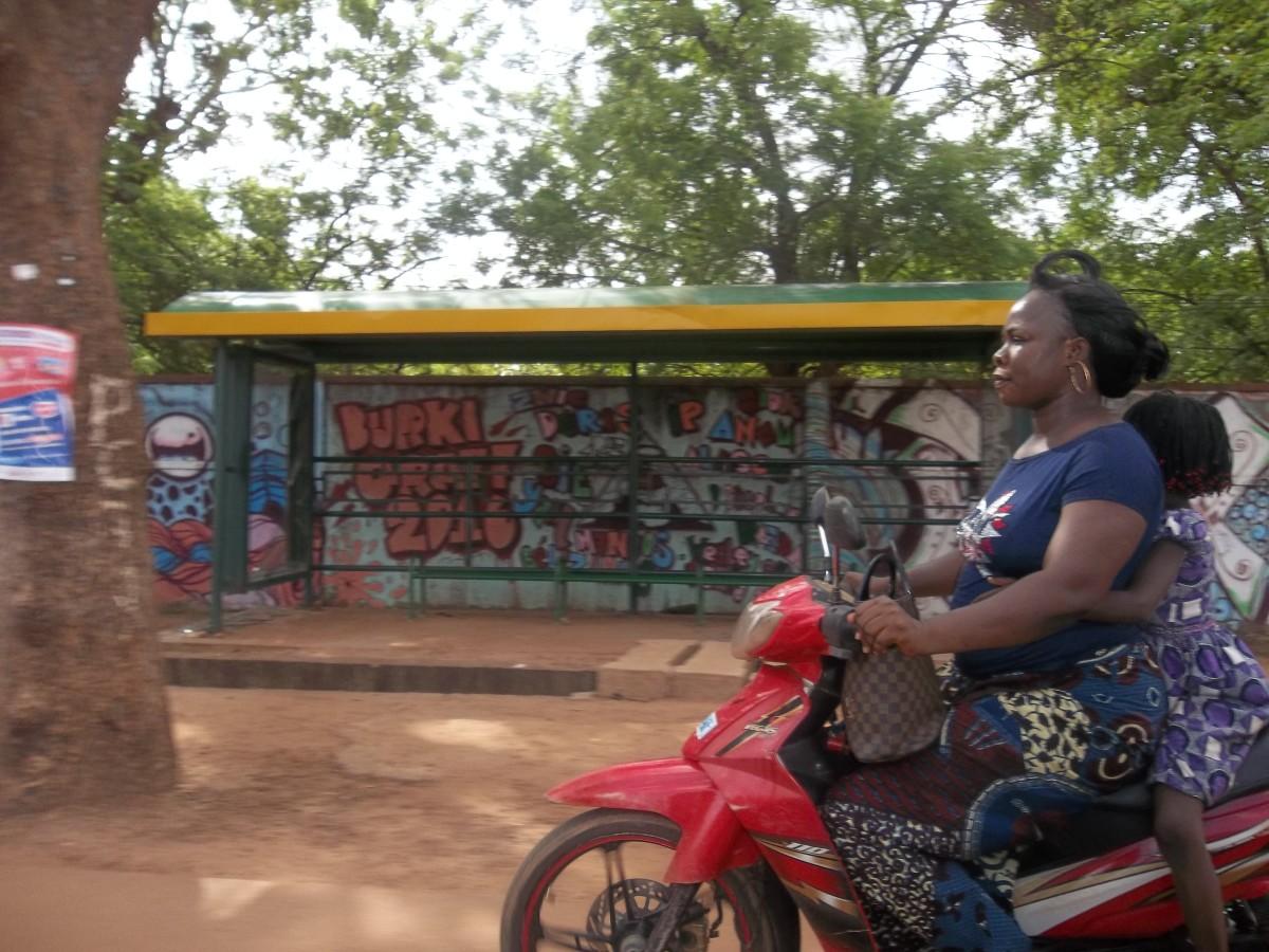 Graffiti at a bus stop