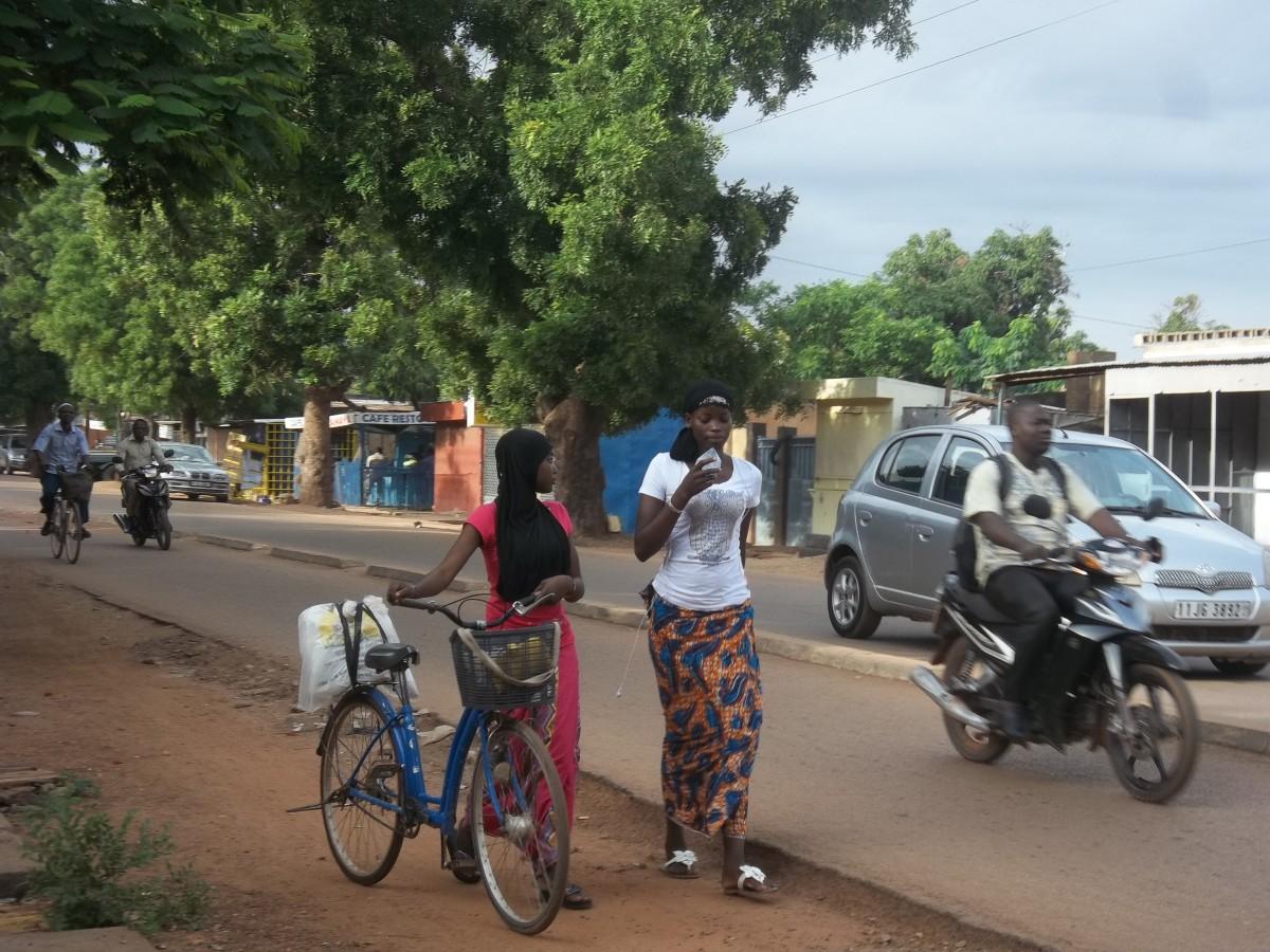 Walking near the Municipal Stadium in Ouagadougou