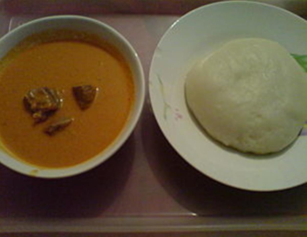 Foo foo served with peanut soup