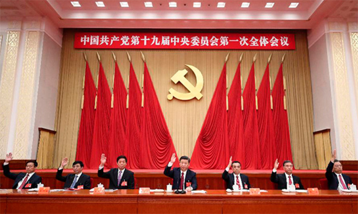 Plenary session of the new Politburo Standing Committee of the Communist Party of China. Photo: Xinhua