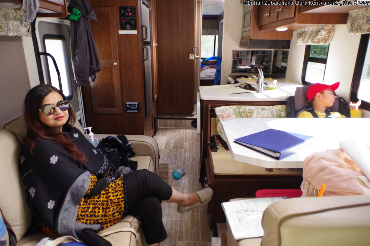 The RV was spacious. Apologies to my wife, whose picture has come out distorted because of the extreme wide angle lens used.
