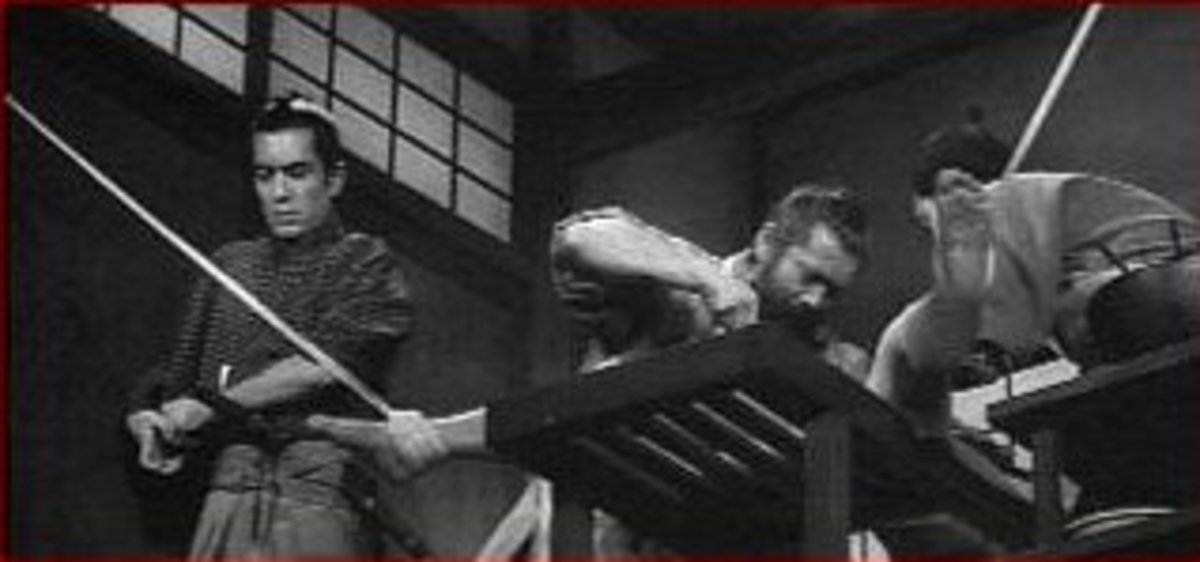 Red Beard and a colleague operate on a patient as Yasumoto struggles to keep her still on the operating bed.