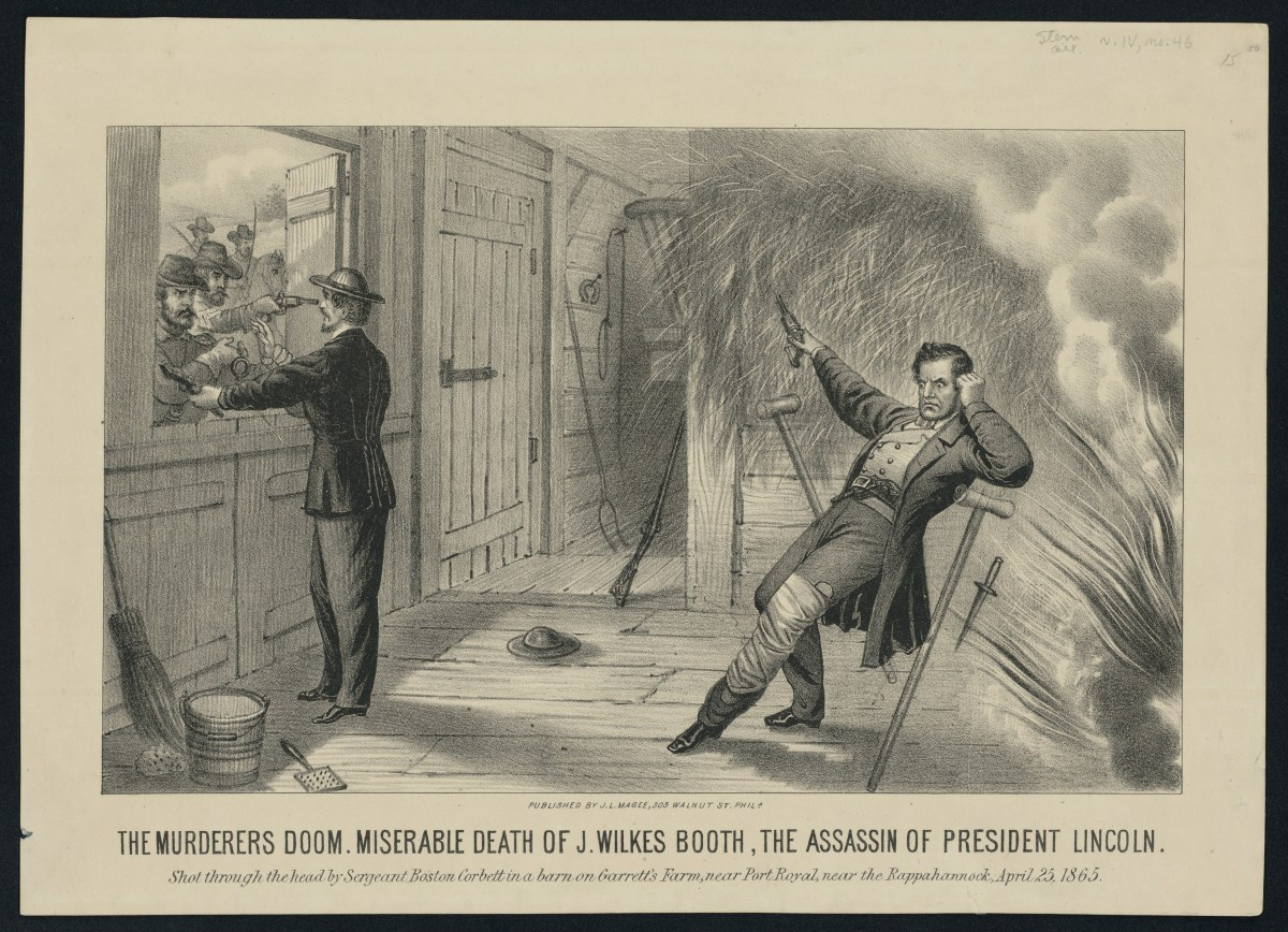An artist rendering of Corbett killing John Wilkes Booth