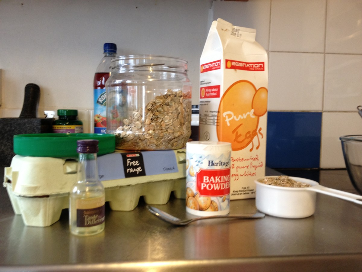 Eggs, Rye Flakes, Egg Whites, Almond Flavouring and Baking Powder