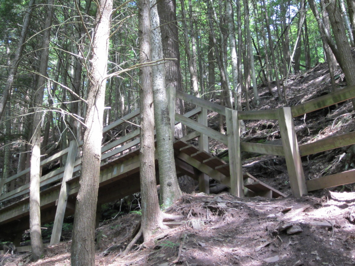 Sideview of a wooden walk and stairs against the steep wall of the canyon.