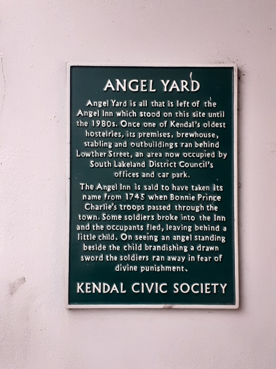 Plaque on the site of the old Angel Inn in Kendal - own image