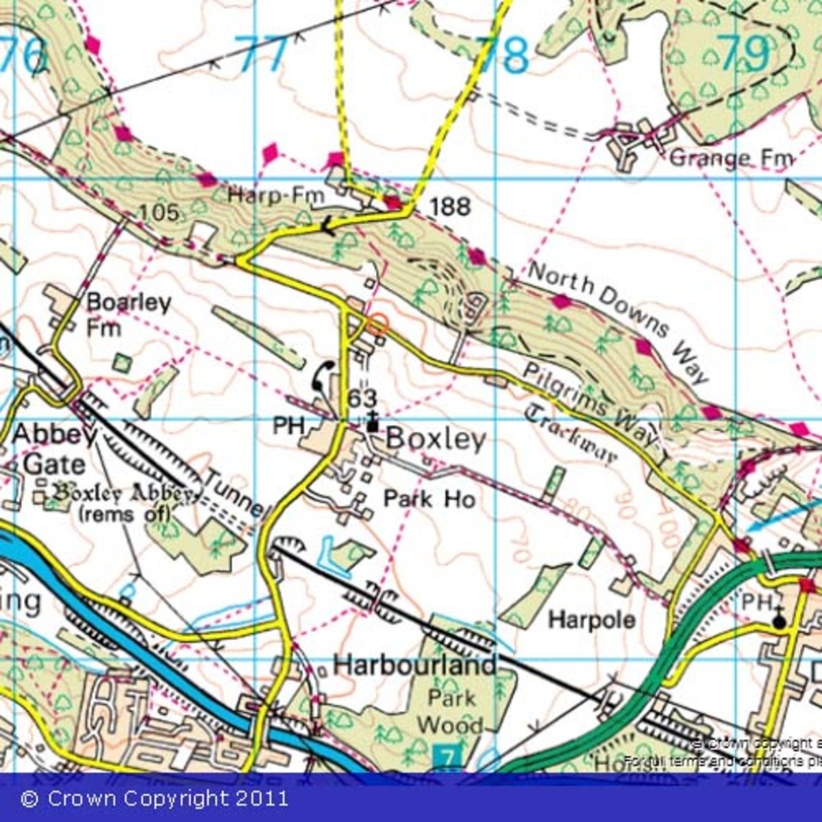 Ordnance Survey map - Public footpaths are the short red dash lines.