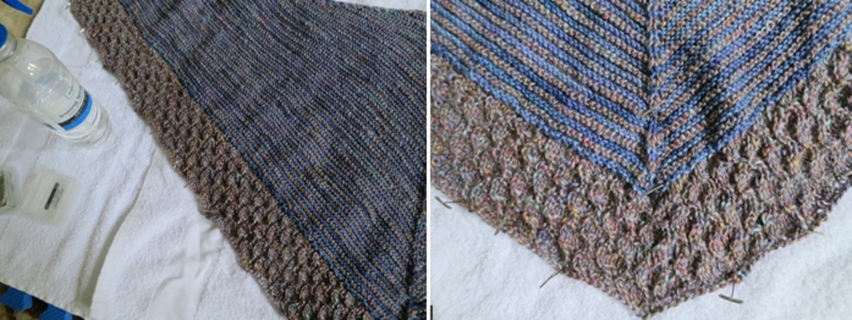 blocking lightweight textured shawl