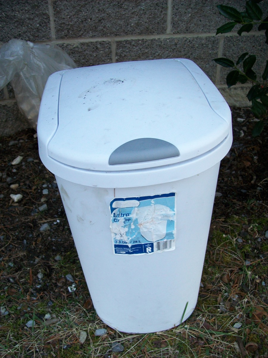 A small trash can that I use to store coffee grounds outside before using them in the garden or in plant containers