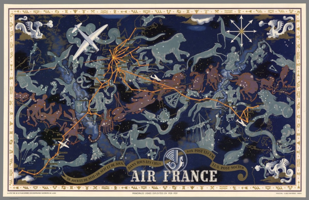 A (principal) route map for Air France in 1938. In actuality, the French air network was even larger.