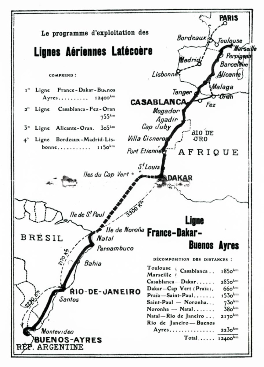 Latécoére's air route to Brazil.