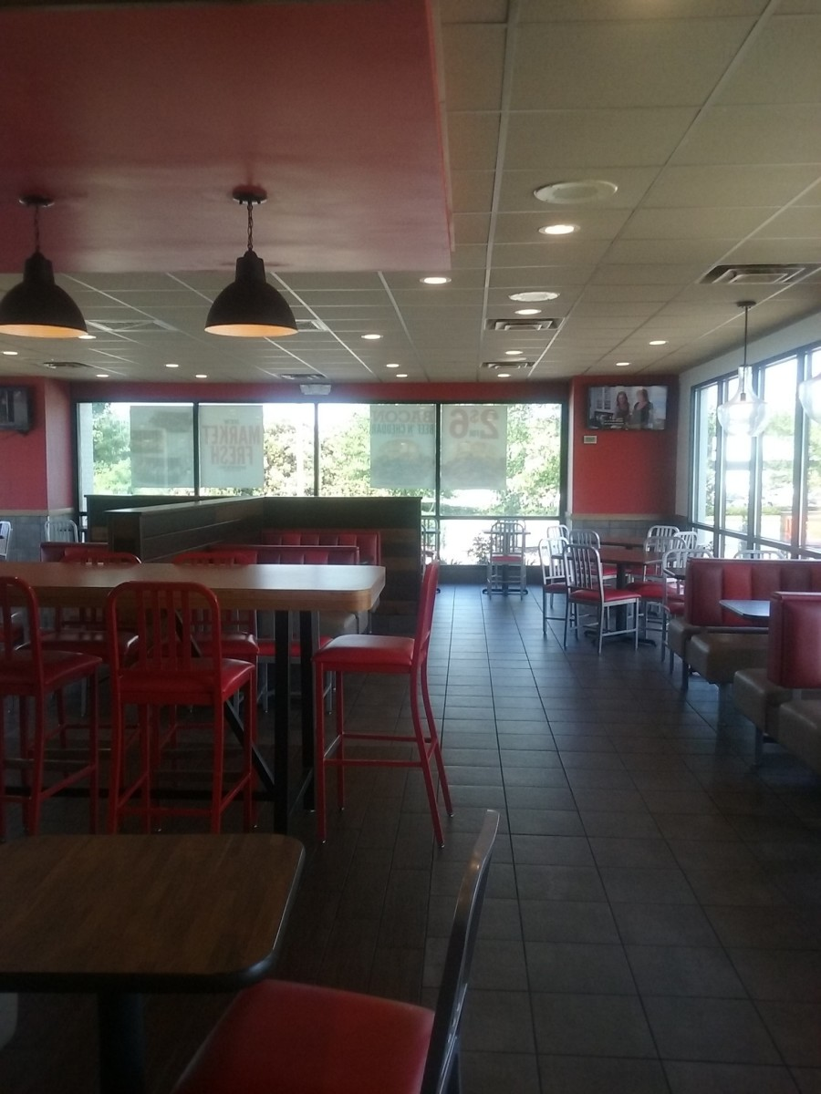 The interior of Arby's fast food restaurant on Bridford Parkway in Greensboro, North Carolina