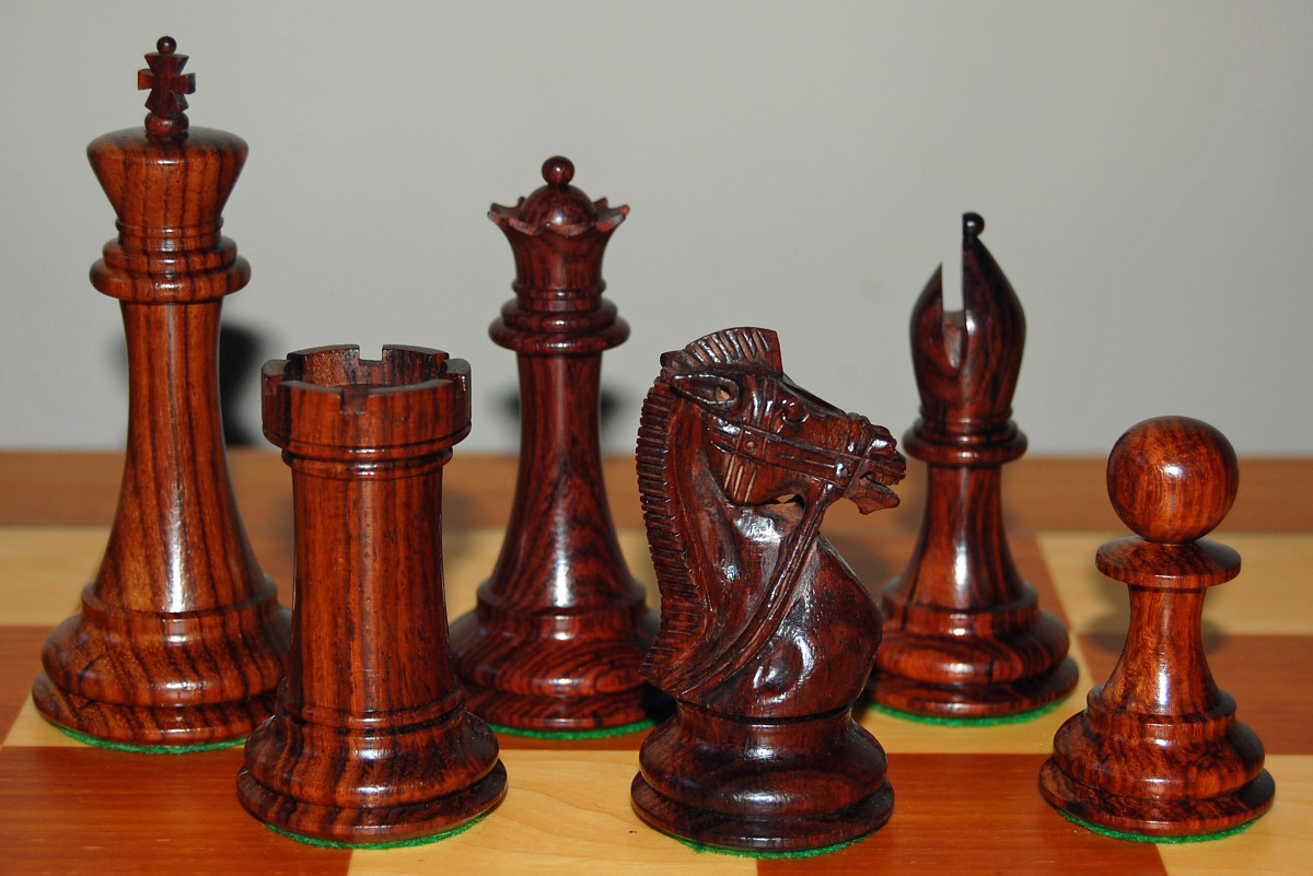 Rosewood chess pieces.