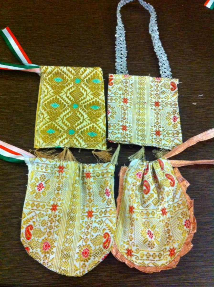 Silk gift pouch of different shapes, made with leftover silk fabric